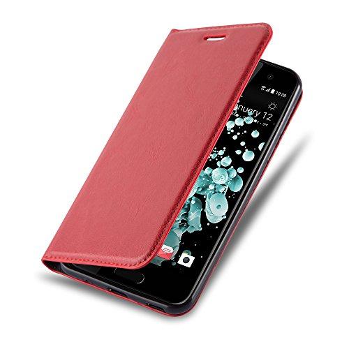 Cadorabo Hülle für HTC U Play - Hülle in Apfel ROT – Handyhülle mit Magnetverschluss, Standfunktion und Kartenfach - Case Cover Schutzhülle Etui Tasche Book Klapp Style