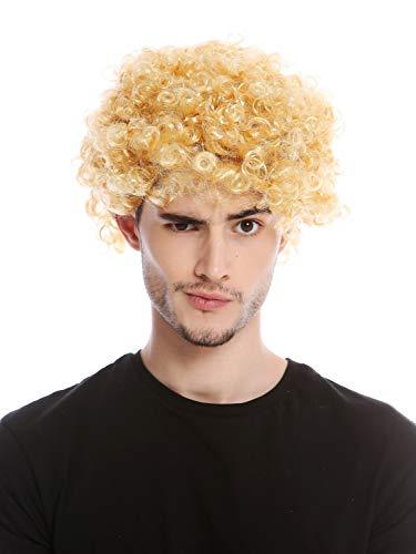 WIG ME UP - PW0186-P03 Perücke Herren Damen Karneval kurz Kraus gelockt Locken kurzer Afro blond Mopp