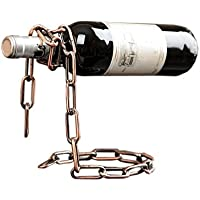 Jungen cadena de metal botella de vino soporte magia flotante vino embotellado titular, acero inoxidable