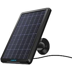 Reolink Panneau Solaire d'alimentation en Continu pour Extérieur sans Fil à Batterie Rechargeable Caméra de Sécurité Argus 2 Argus Pro Reolink Go Étanche Montage Réglable avec Câble de 4 Mètres