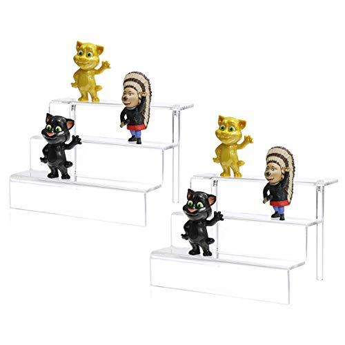 2er Pack Acryl Riser Display Regal für Amiibo Funko POP Figuren, Cupcakes Ständer für Tisch, Schrank, Arbeitsplatten - 3-stufig, klar (30x21,5 cm) -
