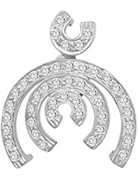 LOLLS Collection 925 Sterling Silver White Rhodium Plated 0.49 CT Round Cut Clear Cubic Zirconia Half Circle Pendant...