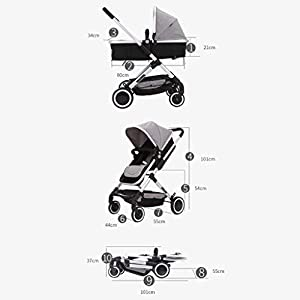 MU Comfortable Pushchairs High Landscape Stroller Two-Way Can Sit Reclining Shockproof Portable Baby Stroller Lightweight Folding Cart Travel,Green   10