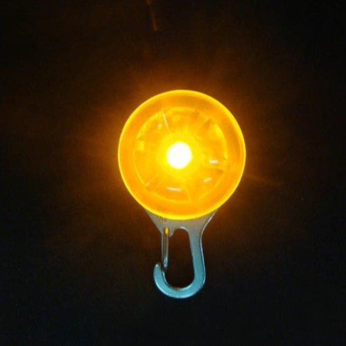 Dcolor 1PC Haustier Sicherheitslicht Welpen LED-Nachtlicht Hund runden Anhaenger, Halsbaender - Gelb