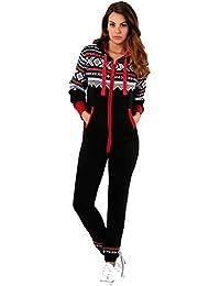 644be8584e Crazy Girls Womens Aztec Print Onesie Ladies Hooded All in One Fleece  Jumpsuit