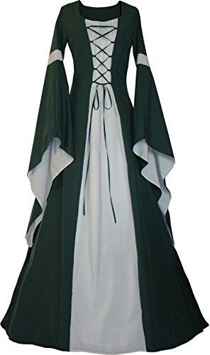 Dornbluth Damen Mittelalter Kleid Johanna Dunkelgrün (32/34, Dunkelgrün-Ecru)