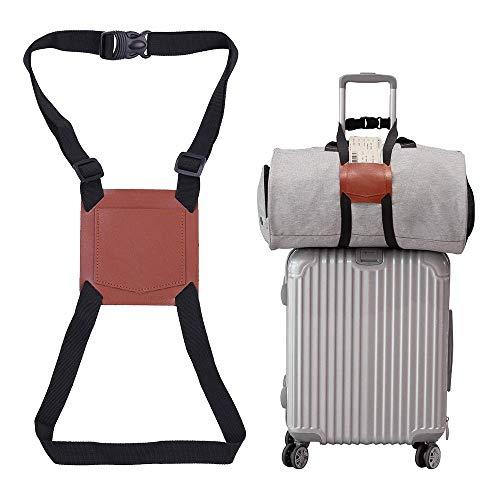 Gepäckgurte,Kein Bag Bungee, Koffergurt für Handgepäck Verstellbare Gepäckgurt Reiseaccessoires Aus Echtem Leder (Braun)