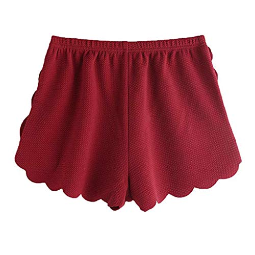 KUDICO Damen Shorts Mode Spitze Yoga Sporthosen Sommerhosen High Waist Kordelzug Kurze Hose mit Taillenband Elegant Hotpants Strandshorts(rot 2, XL)