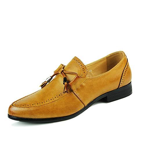 TONGDAUR Herrenmode Oxford Schuhe Casual Komfortable Low Top Classic Fringed Slip On Formelle Geschäftskleider Lederschuhe für Herren (Color : Gelb, Größe : 41 EU)
