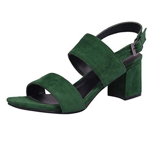 iLPM5 Damen Klassische Blockabsatz Sandalen Einfarbig Wildleder Open Toe Knöchel Schnalle Sandalen Elegante Party Schuhe(Grün,37)
