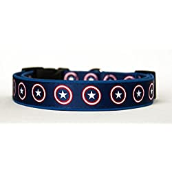 Capitan America Captain America Collar Perro Hecho a Mano Talla M sin Correa Dog Collar HandMade