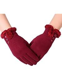Aibrou Guantes Invierno Mujer Tactiles Pantalla Guantes y manoplas Acampada y Marcha, Una Talla