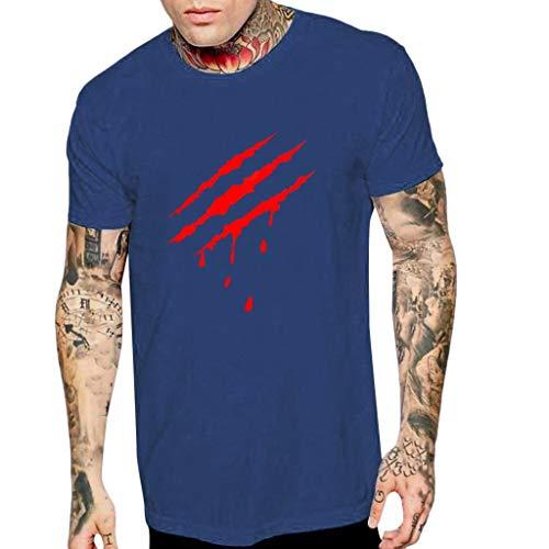 Sport T-Shirt für Herren/Skxinn Männer Scratch Druck Kurzarm Bluse,Sommer T-Shirt Falten Rundkragen SOID T-Hemd Fashion Top Blouse Casual Regular Fit Strand Tops S-2XL(Marine,Medium)