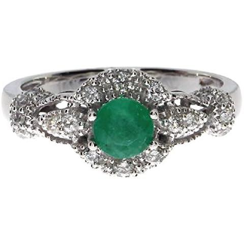 14 K oro blanco redondo Esmeralda anillo de diamantes
