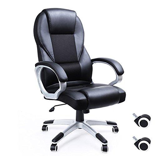 Songmics schwarz Bürostuhl Chefsessel Bürodrehstuhl hoher sitzkomfort OBG22B