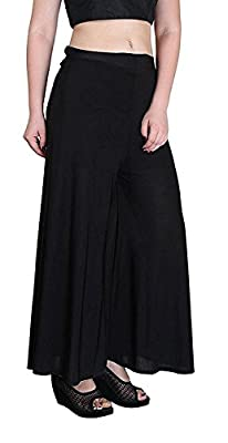 Krystle Girl's Georgette Stretchable Plain Palazzo (Black, Free Size)