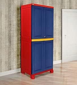 Vishesh Freedom Big 1 (FB 1) Plastic Storage Cabinet ((Pepsi Blue, Bright Red & Yellow))