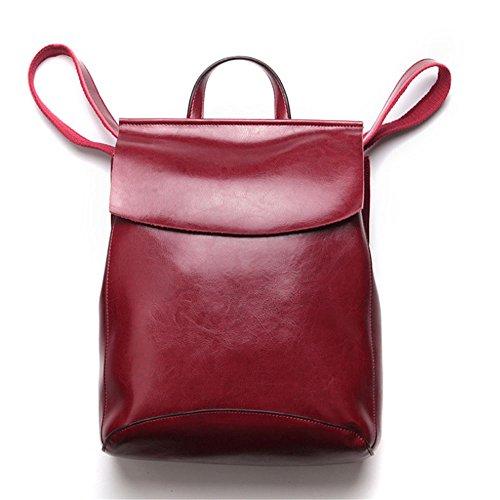 Retro Rucksack Leder Vintage Rucksack Wanderrucksack Hiking Backpack Damen Herren Schultertasche Leder Rucksack Für iPhone, iPad und Samsung Tablet drei Farbe (Rot)-24 * 30 * 10cm