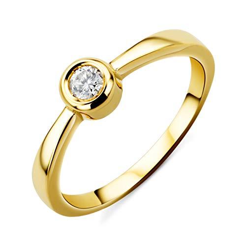 Orovi Damen Diamant Ring Gelbgold, Verlobungsring 14 Karat (585) Gold und Diamant Brillanten 0.1 Ct, Solitärring Ring Handgemacht in Italien