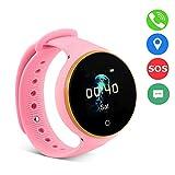 VBESTLIFE GPS Smart Watch Kid Safe pour Smart Montre Bracelet, Enfant Montre SOS LBS + GPS + AGPS Positionnement Tracker Kid Safe Anti-Perdu pour Enfant.(Pink)