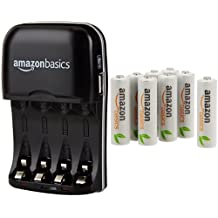 AmazonBasics - Cargador de pilas AA y AAA y pack de 8 pilas recargables AA (1000 ciclos, 2000 mAh)