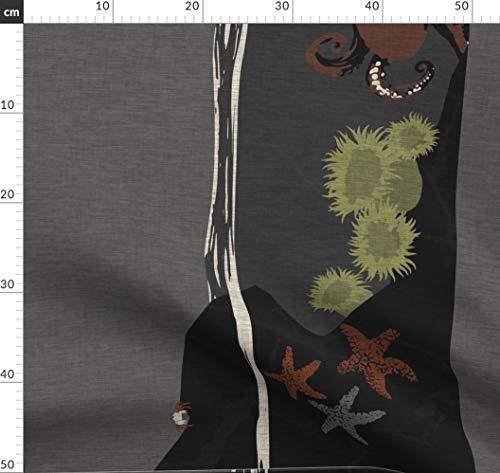 Schwimmbecken, Oregon, Ozean, Anemone Stoffe - Individuell Bedruckt von Spoonflower - Design von Thecalvarium Gedruckt auf Bio Baumwollsatin