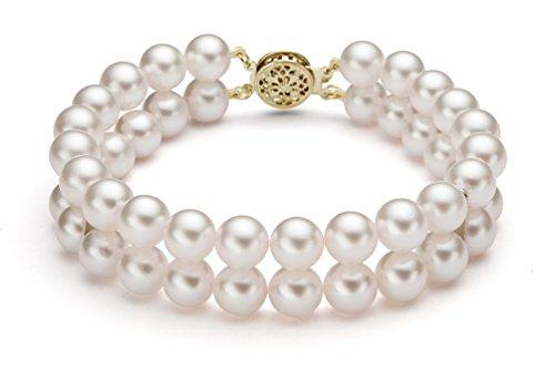 14K Or jaune Double brins perle de culture d'eau douce blanc bracelet de qualité AAA, 17,8cm
