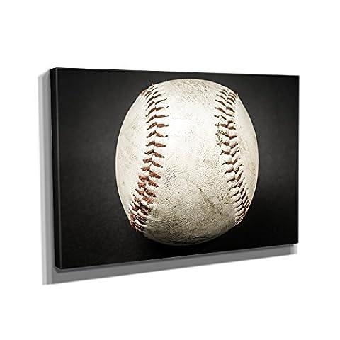 Vintage Baseball - Kunstdruck auf Leinwand (30x20 cm) zum Verschönern Ihrer Wohnung. Verschiedene Formate auf Echtholzrahmen. Höchste