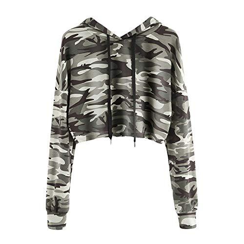 Chaink_1 Damen Kapuzenpullover Camouflage Bedruckt, klassisch, leicht, lässig, Lange Ärmel, Kapuzenjacke mit Taschen, Kordelzug Tops Pullover Bluse 2019 Neu Gr. S/M/L/XL/XXL, Camouflage -