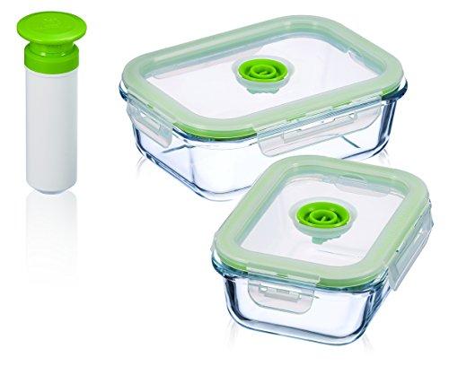 Vacuumsaver Set de Tuppers al Vacío Rectangulares, Transparente y Verde, 2 Unidades
