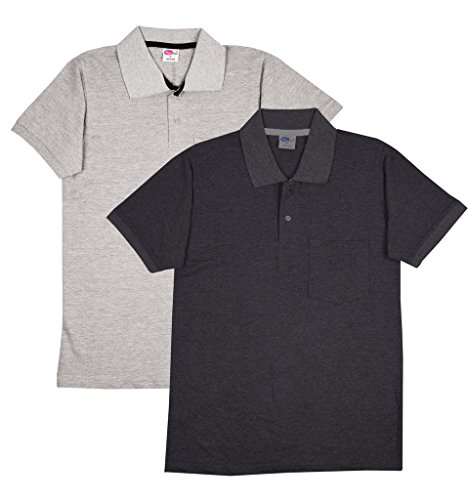 Fleximaa Men's Collar (POLO) T-Shirts With Pocket Combo Pack (Pack of 2) - Charcoal Milange & Grey Milange Color. Sizes : S-38, M-40, L-42, XL-44, XXL-46