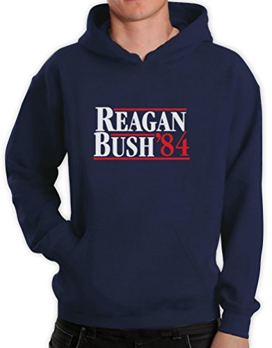 Green Turtle T-Shirts Ronald Reagan Bush '84 Blau Medium Kapuzenpullover Hoodie -