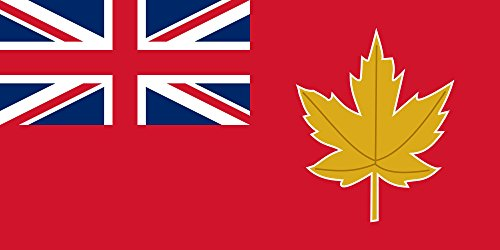 magFlags Flagge: Large 1946 Canadian Flag Proposal   Proposed Canadian Flag in 1946; red Ensign with a golden Maple Leaf Badge   Querformat Fahne   1.35m²   80x160cm » Fahne 100% Made in -