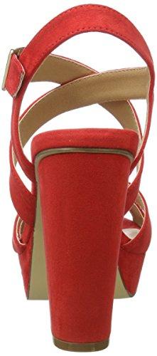 Bianco Damen Riemensandale mit Blockabsatz 35-48616 Offene Sandalen Rot (Red)