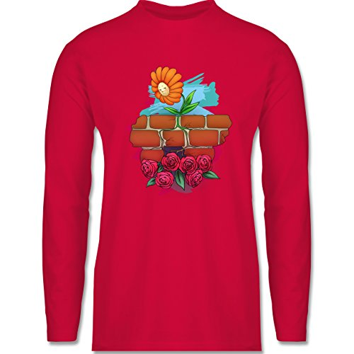 Statement Shirts - Mauerblümchen - Longsleeve / langärmeliges T-Shirt für Herren Rot