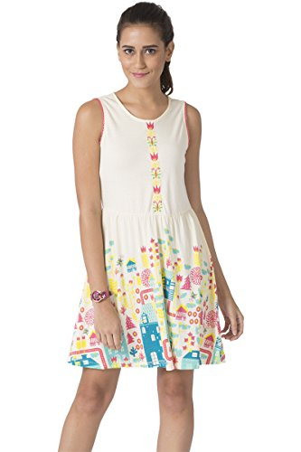 Chumbak Floral City Printed Ivory A-line Dress- M
