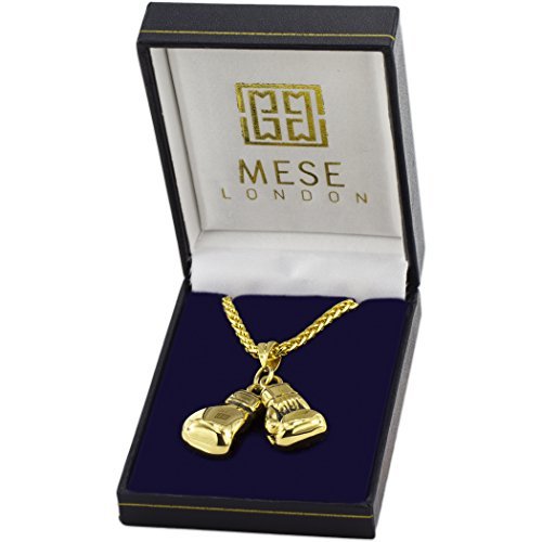 MESE London Boxhandschuh-Halskette 18K Gold Uberzogene Ketten Männer Anhänger - Elegante Geschenkbox Abbildung 2