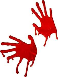 Smiffy's - Bluthände Fensterdeko Blut Hand Horror Halloween Hände Fenster Deko, Rot