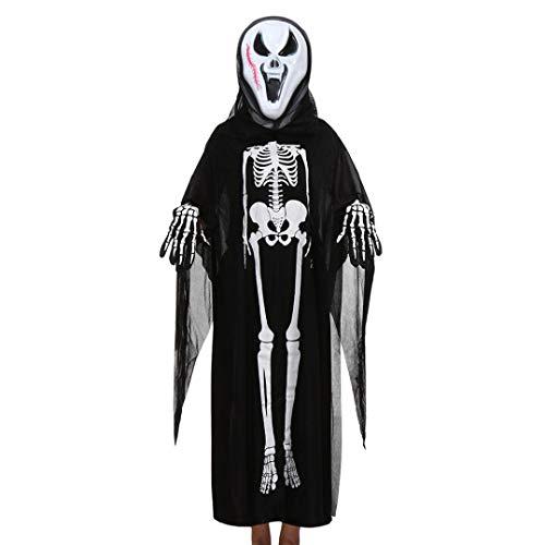 FORH Unisex Kleidung Frauen Männer Halloween Cosplay Kostüm Halloween Skelett Schädel Knochen Kostüm Neuheit Party Kleid Umhang + Maske + Handschuhe Familie Outfits Set