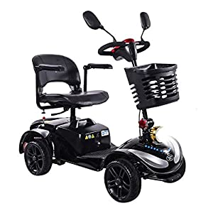 HOPELJ 4 Wheeled Electric Mobility Scooter,Travel Mobility Scooter Foldable - 270W 20AH Lead Acid Battery 21.7 ?iles Range,Black,Solidtire