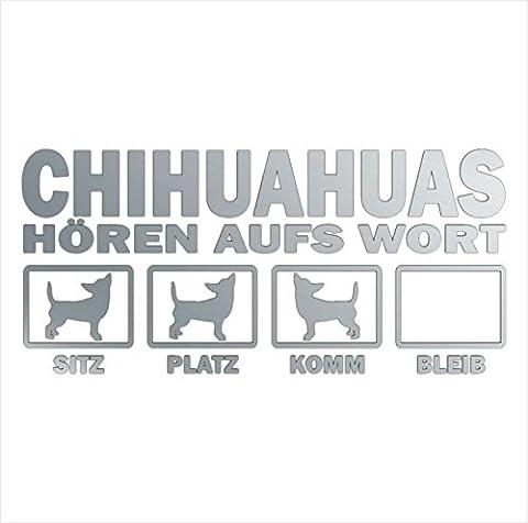 Siviwonder Auto Aufkleber CHIHUAHUA Hunde Hören aufs Wort Hundeaufkleber 30cm silber metallic