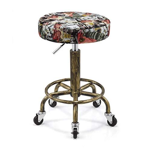 SED Praktischer Stuhl Vintage Barhocker, Schönheitssalon-Rollstuhl, Zähler höhenverstellbar, bequem weich gepolstert, verstellbares Drehgelenk, Fußstütze aus Metall Kreative Hocker,A - 4 Zähler Höhe Stühle