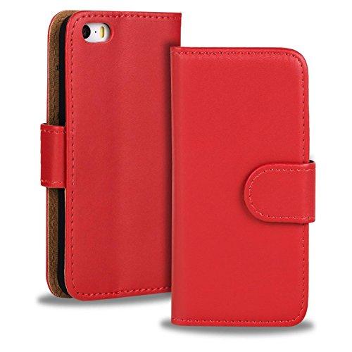 iPhone 5C Cover Schutzhülle im Bookstyle aufklappbare Hülle aus PU Leder Farbe: Weiss Rot