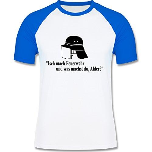 Feuerwehr - Ich mach Feuerwehr und was machst Du - zweifarbiges Baseballshirt für Männer Weiß/Royalblau