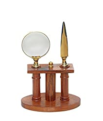 Royal Arts Brass & Wooden Magnifying Glass & Letter Opener