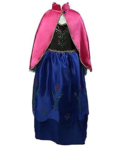 D'amelie Eiskönigin Prinzessin Kostüm Kinder Glanz Kleid Mädchen Weihnachten Verkleidung Karneval Rollenspiele Party Halloween (Kind Aurora Ballerina)