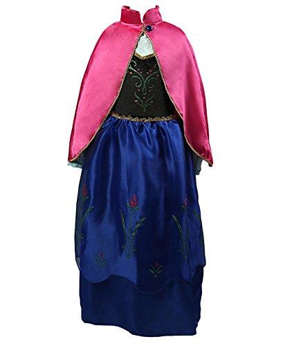 Preisvergleich Produktbild D'amelie Eiskönigin Prinzessin Kostüm Kinder Glanz Kleid Mädchen Weihnachten Verkleidung Karneval Rollenspiele Party Halloween Fest