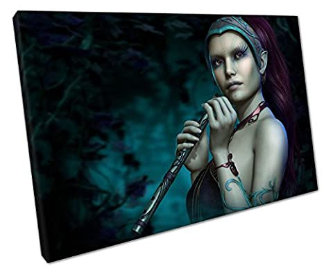 BLUE FAIRY WITH FLUTE CANVAS WALL ART PICTURE LARGE 75 X 50 CM