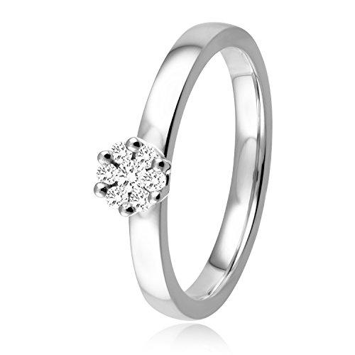 Diamond Line Diamant-Ring Damen 585 Weißgold mit 7 Brillianten 0.15 ct. Lupenrein