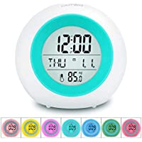 OUTWIT Kids Alarm Clock [Updated Version], Student Wake Up Digital Clock for School, 7 Colors Changing Night Light Bedside Clock for Boys Girls Bedroom, with Temperature Calendar, Touch Control